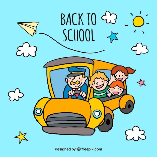 Conceito de regresso à escola com ônibus escolar amarelo Vetor grátis