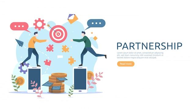 Conceito de relação de parceria de negócios Vetor Premium