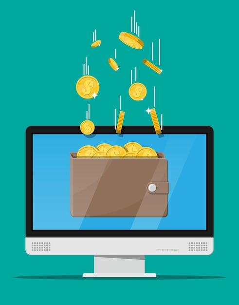 Conceito de renda online. ganhos na rede de internet Vetor Premium