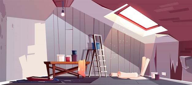 Conceito de reparação do sótão. renovação do quarto de madeira sob um telhado. Vetor grátis