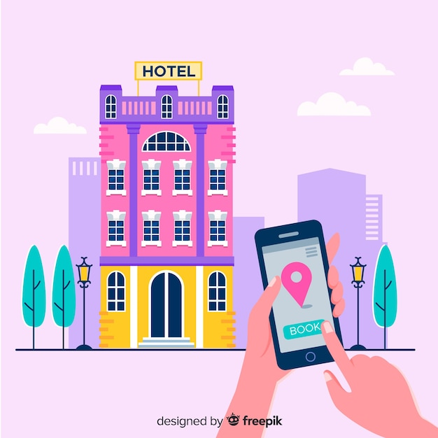 Conceito de reserva de hotel plana Vetor grátis