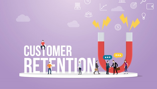 Conceito de retenção de clientes com grandes palavras e equipe pessoas e grande ímã Vetor Premium