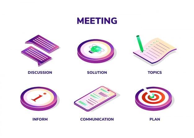 Conceito de reunião. ícones isométricos Vetor Premium