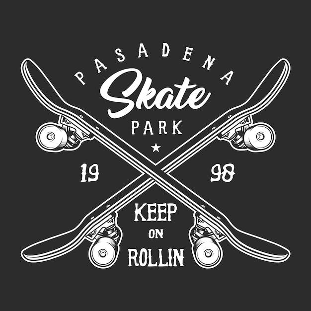 Conceito de rótulo monocromático de skate vintage Vetor grátis