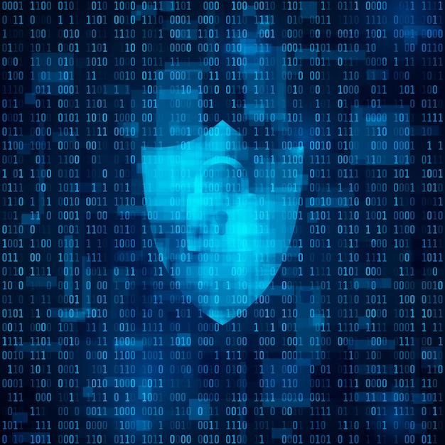 Conceito de segurança cibernética. ciberespaço, código bynary - matriz. dados codificados Vetor Premium