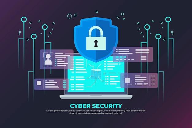 Conceito de segurança cibernética neon com cadeado e circuito Vetor grátis