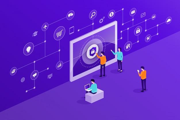 Conceito de segurança cyber internet tecnologia Vetor Premium