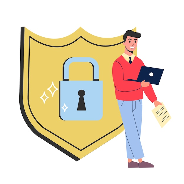 Conceito de segurança e proteção de dados na internet. ideia de segurança da informação digital. tecnologia informática moderna, dados confidenciais. ilustração em grande estilo Vetor Premium