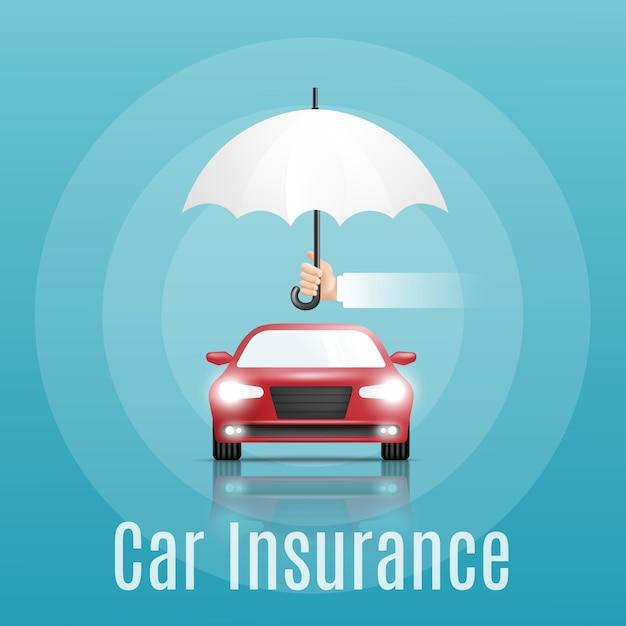 Conceito de seguro de carro. banner com texto Vetor Premium
