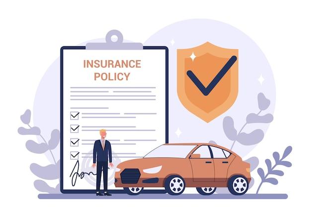 Conceito de seguro de carro. ideia de segurança e proteção da propriedade e da vida contra danos. segurança contra desastres. Vetor Premium