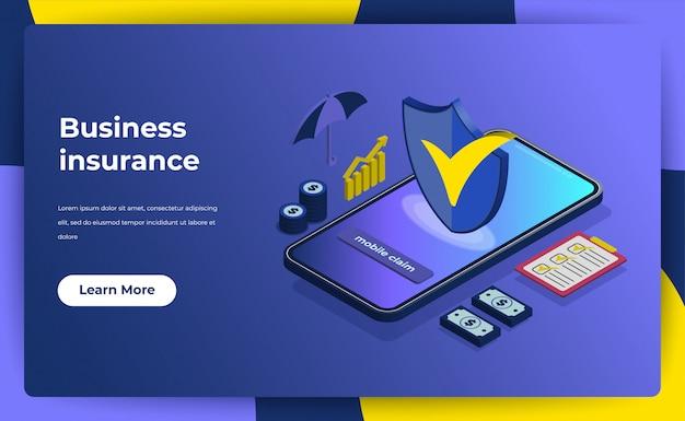Conceito de seguro de negócios. landing page garantia de política para o seu negócio. Vetor Premium