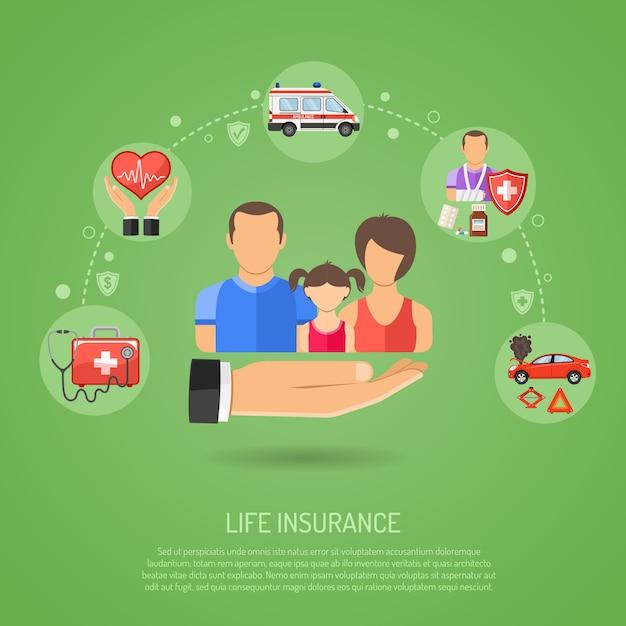 Conceito de seguro de vida Vetor Premium