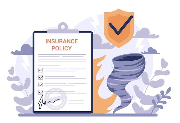 Conceito de seguro. ideia de segurança e proteção da propriedade e da vida contra danos. segurança contra desastres naturais. Vetor Premium