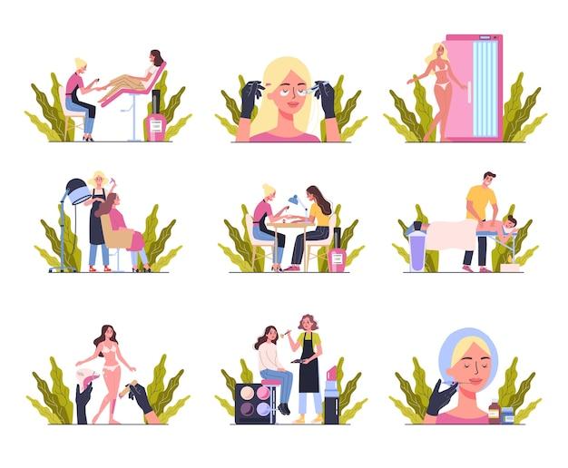 Conceito de serviço de centro de beleza. visitantes de salões de beleza tendo procedimento diferente. personagem feminina no salão. massagem, unhas, maquilhagem, depilação, solário, enchimentos. conjunto de ilustração Vetor Premium
