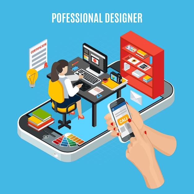 Conceito de serviço de design gráfico com designer profissional no trabalho Vetor grátis