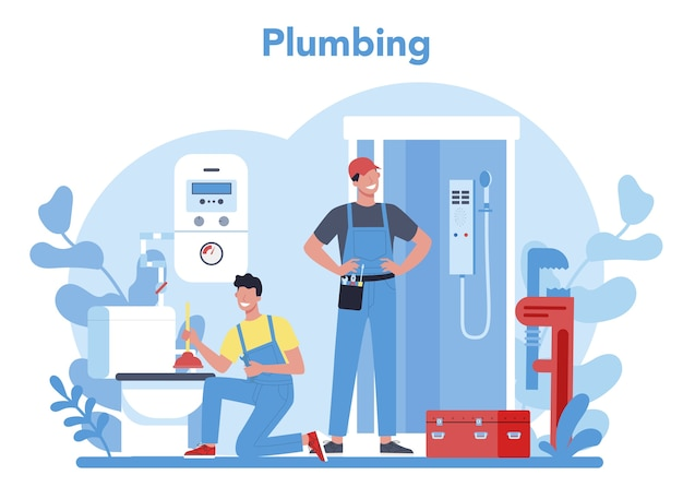 Conceito de serviço de encanamento. reparação e limpeza profissional de canalizações e equipamentos de banho. ilustração vetorial Vetor Premium