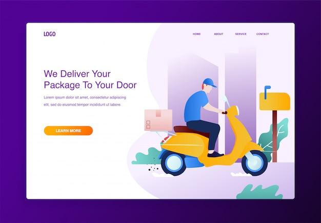 Conceito de serviço de entrega com moto scooter e caixas de papelão Vetor Premium