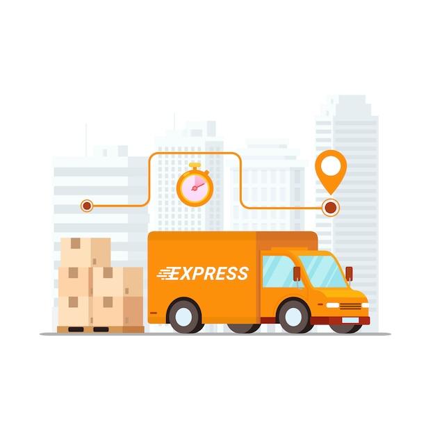 Conceito de serviço de entrega rápida Vetor Premium