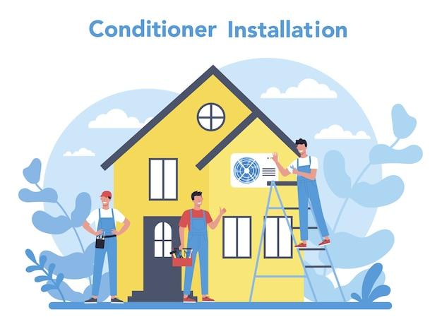 Conceito de serviço de instalação e reparo de ar condicionado Vetor Premium
