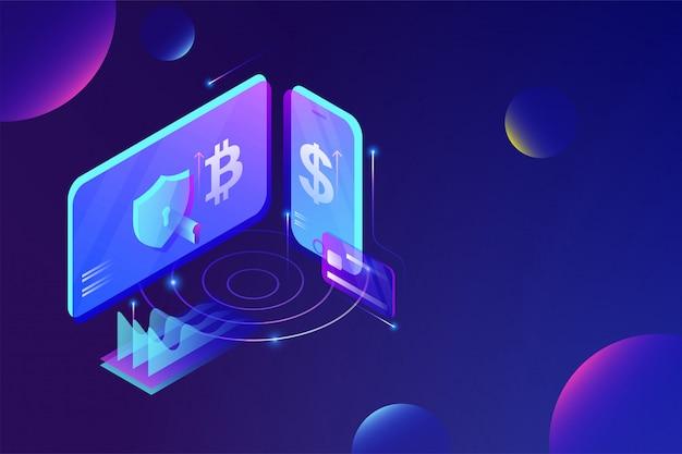 Conceito de serviço de plataforma de troca de criptocorrência on-line. Vetor Premium