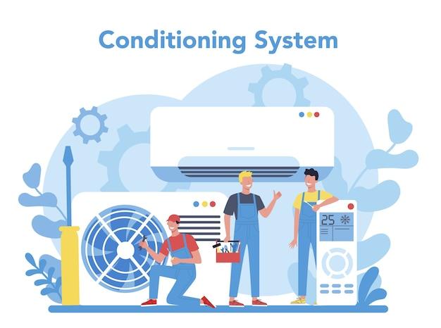 Conceito de serviço de reparação e instalação de ar condicionado. reparador instalando, examinando e reparando o condicionador com ferramentas e equipamentos especiais. ilustração vetorial isolada Vetor Premium