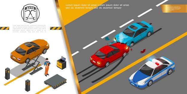 Conceito de serviço de reparo de automóveis isométrico Vetor grátis