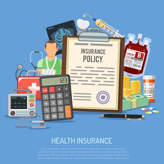 Conceito de serviços de seguro de saúde Vetor Premium