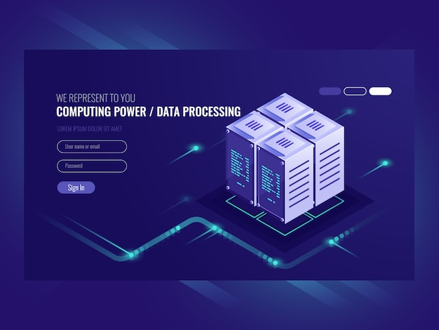 Conceito de servidor blockchain, computador quântico, sala de servidores, banco de dados Vetor grátis