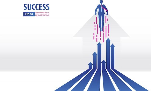 Conceito de setas de negócios com empresário voando para o sucesso Vetor Premium