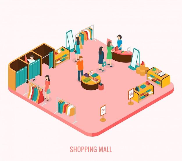 Conceito de shopping center. ilustração 3d isométrica Vetor Premium