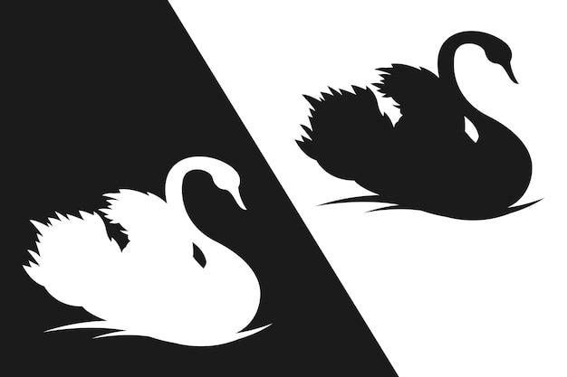 Conceito de silhueta linda cisne Vetor grátis