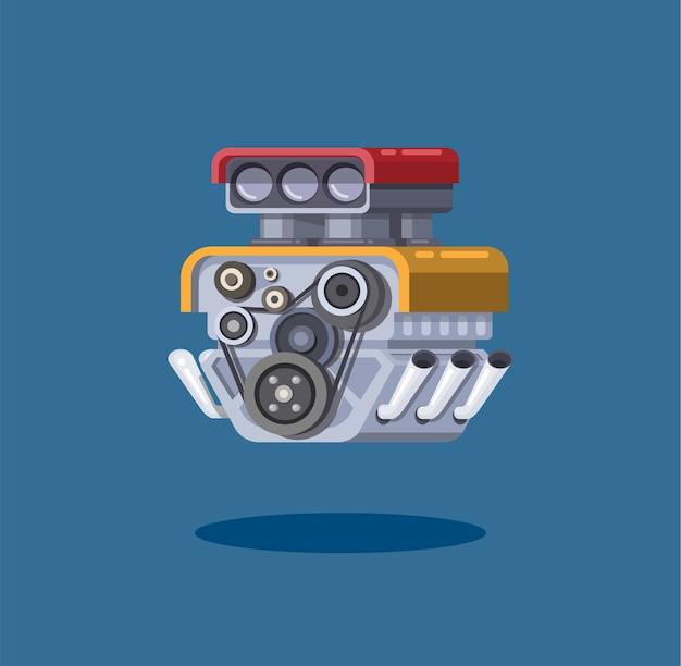 Conceito de símbolo de turbo do motor de carro Vetor Premium