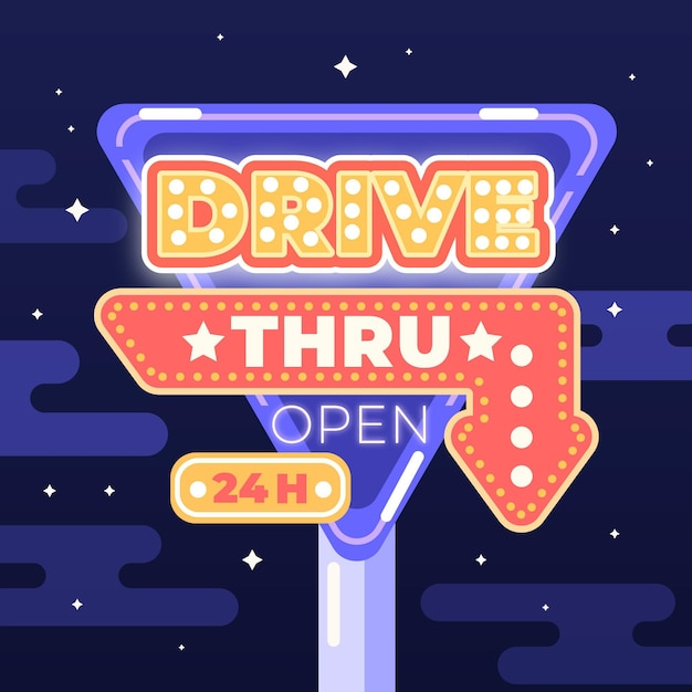 Conceito de sinal de drive thru Vetor grátis
