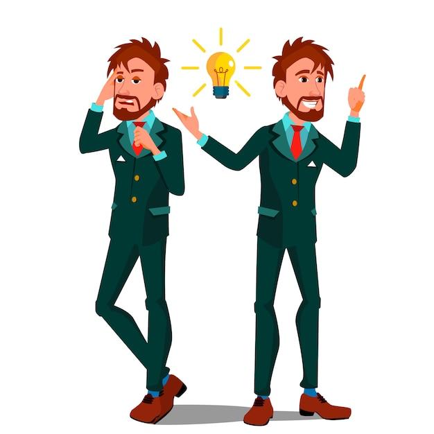 Conceito de solução, homem falando ao telefone, apontando uma lâmpada Vetor Premium