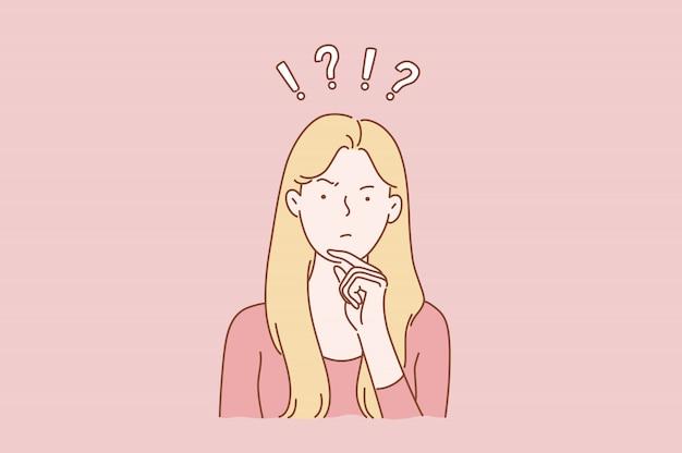 Ilustração de mulher com expressão facial de dúvida ou indecisão