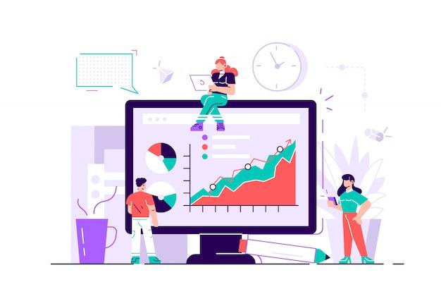 Vetor Premium | Conceito de sucesso, alcan�ar um objetivo, ilustra��o de  neg�cios, funcion�rios estudam infogr�ficos, analisam escala evolutiva,  treinamento on-line. ilustra��o de design moderno estilo simples para  p�gina da web