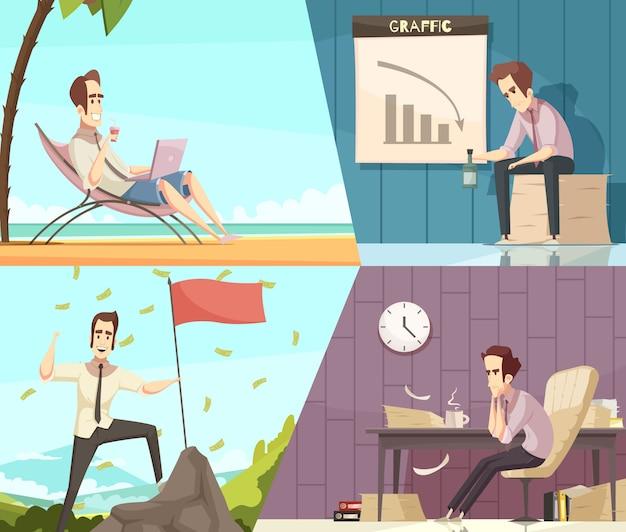 Conceito de sucesso e fracasso de negócios 2 banners de desenhos animados retrô com chuva de dinheiro e frustração isolada Vetor grátis