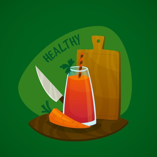 Conceito de suco de cenoura Vetor grátis