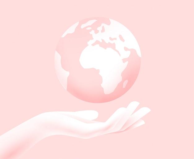 Conceito de sustentabilidade do mundo. silhueta de mão com o planeta terra acima. salve o conceito do mundo. ilustração. Vetor Premium