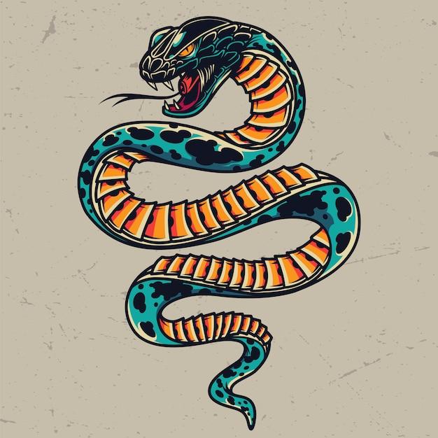 Conceito de tatuagem colorida de cobra venenosa Vetor grátis