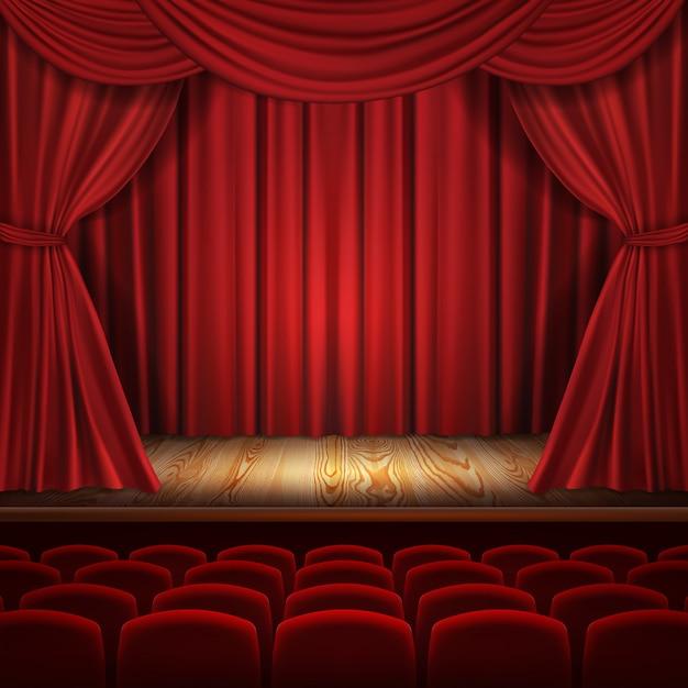 Conceito de teatro, cortinas de veludo vermelho luxuoso realistas com assentos escarlate de teatro Vetor grátis