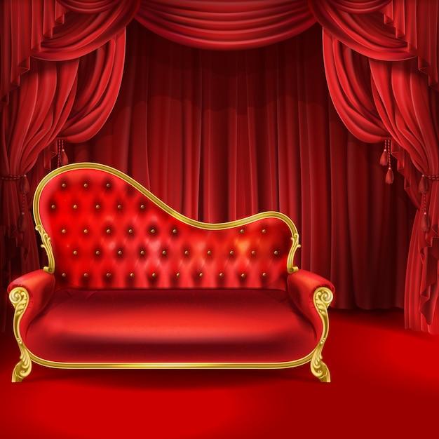 Conceito de teatro, sofá de veludo vermelho luxuoso realista com pernas esculpidas douradas Vetor grátis