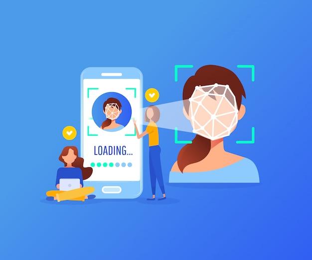 Conceito de tecnologia de reconhecimento de rosto Vetor Premium