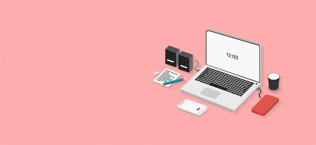 Conceito de tecnologia pode ser usado para banners web, infográficos, imagens, imagens tridimensionais separadas Vetor Premium