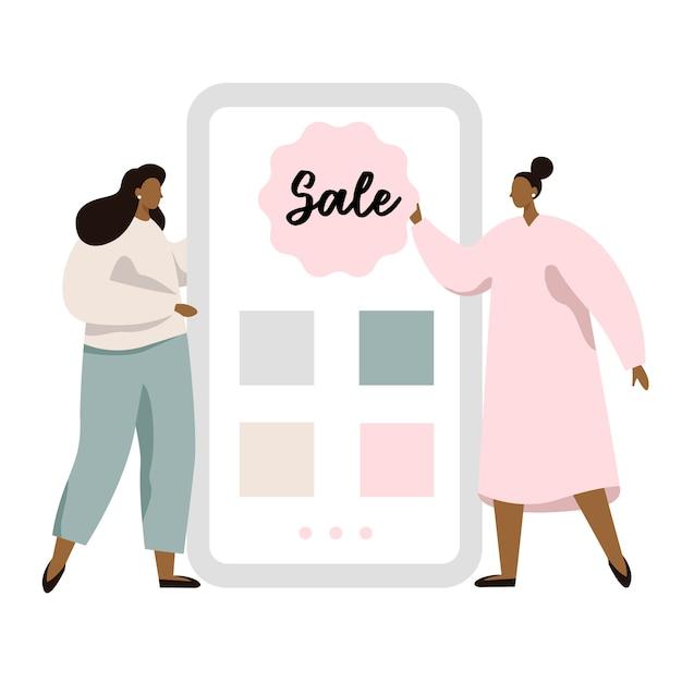 Conceito de tela de aplicativo móvel com botão de venda. programa de referência para amigos. duas mulher mostrando a tela do smartphone com aplicação de loja. Vetor Premium