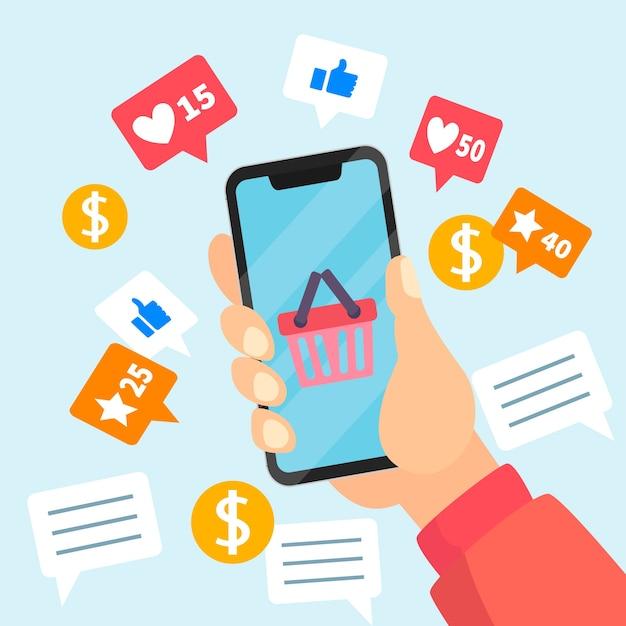 Conceito de telefone móvel de marketing de mídia social Vetor grátis