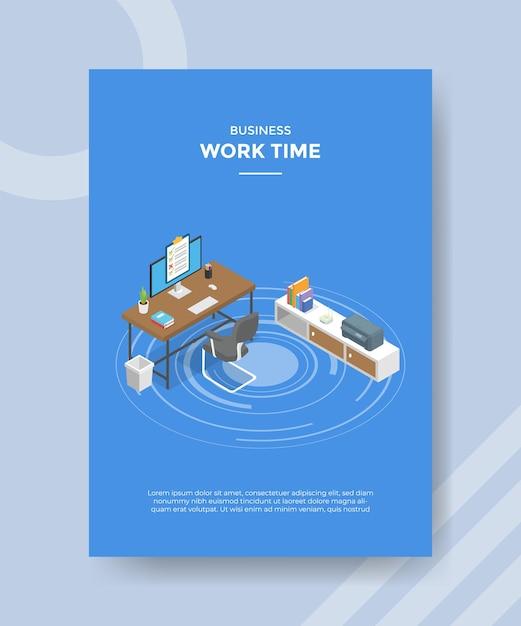 Conceito de tempo de trabalho para banner de modelo e folheto para impressão com ilustração de estilo isométrico Vetor grátis