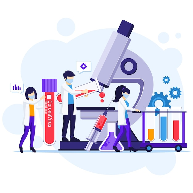 Conceito de teste rápido para doença por coronavírus covid-19 com cientistas que trabalham na medicina Vetor Premium