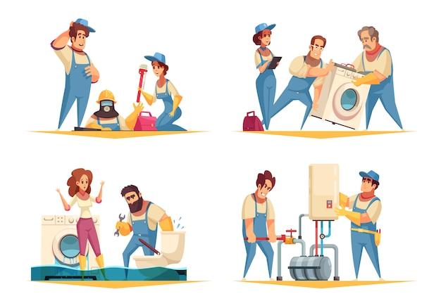 Conceito de trabalho de encanador 4 composições de desenhos animados planas com instalação de máquina de lavar de caldeira de fixação residencial inundada Vetor grátis