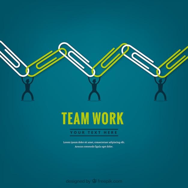 Conceito de trabalho em equipe com clipes de papel Vetor grátis